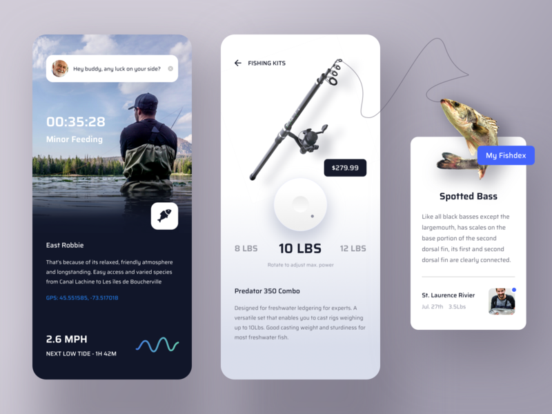 Fishing app social share shopping product chart message gallery details ui profile clean app