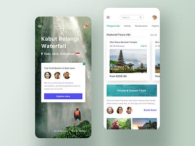 Trip app - Explore spots card menu tour search price gallery video details ui profile mobile clean list app
