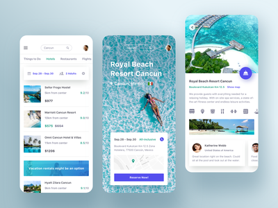 Trip app - Hotel booking description filter order map booking hotel reserve date search travel trip message price details ui mobile clean list app