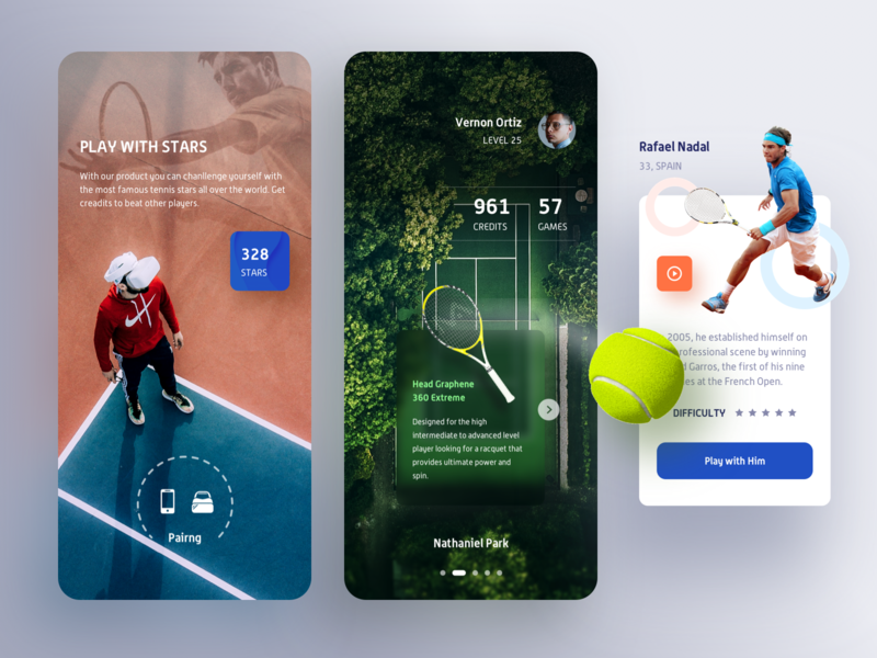 VR Tennis Game App. tennis sport score credit play game card search vr ar design gallery video details ui profile mobile app