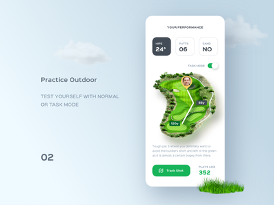 Golf course app. vr ar sport card game weather number data price search message video details ui profile clean mobile app golf