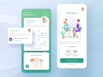 Medical app. notification card time date appointment medicine pharmacy green doctor medical illustration message details ui profile clean mobile list app