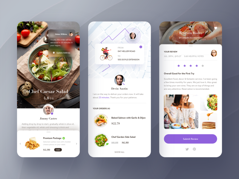 Fastfood order app. social purple map traffic review contact ship delivery food price message gallery details ui profile clean mobile list app