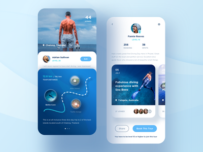 Diving app. product design calendar date credit layout location game sport card video travel tour blue gallery ui profile clean mobile app
