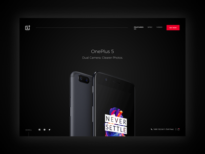 onePlus 5 Landing Page Redesign clean black website landingpage mobile 5 oneplus