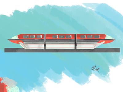 Monorail VII disneyland disney monorail tomorrowland transport future photoshop digital painting digital painting disneyworld