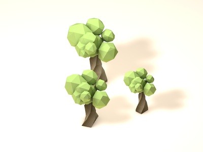 Three Trees cinema4d c4d low poly digital render trees university campus