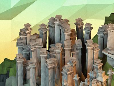 Tibet c4d cinema 4d low poly model digital landscape building asia mountains tibet