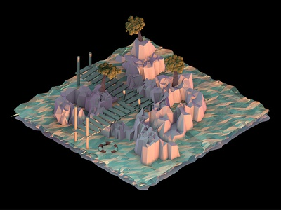 There goes the Sun sun c4d cinema 4d low poly isometrics
