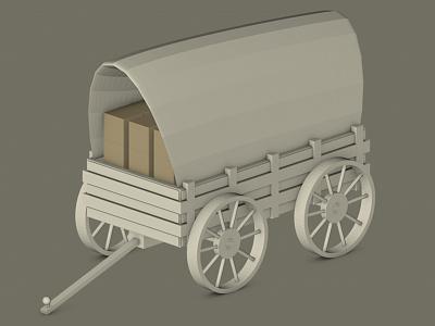 Wagon cinema 4d c4d low poly wild west western wagon