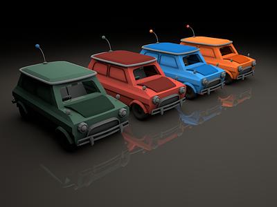 Candy Colours cinema 4d c4d low poly render digital 3d model car mini cooper