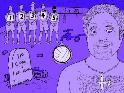 Tom Jones's Gold Extravagance sprite soccer taps tom jones gravestone football line up line drawing illustration