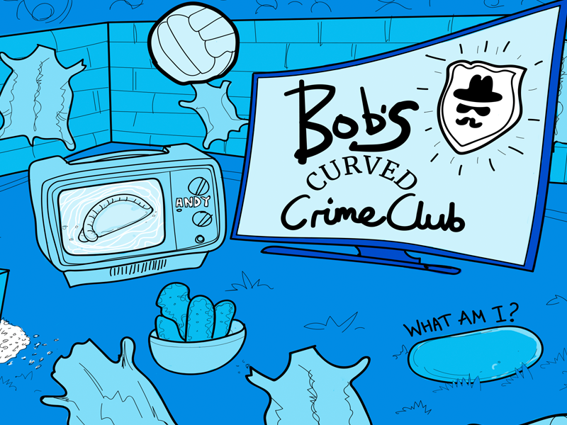 Bob's Crime Club podcast illustration line drawing pebble chicken dippers pitch football pelts pasty portable tv detective curved tv