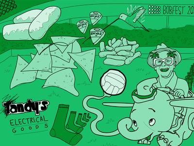 Bobfest Revealed podcast cheese slice hummingbird iced buns wotsits nachos funny timmy mallet dumbo football sketch illustration