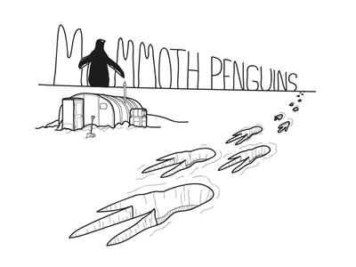 Mammoth Penguins artwork t shirt band snow horizon base research station antarctica footprints penguins