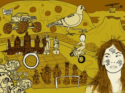 The Susanna Hoffs Motorbike Incident podcast monster truck volcano pigeon lotr drawing chess portrait illustration