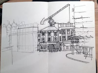 Wip, urban sketch, Clerkenwell, London building urban work in progress line drawing illustration sketch