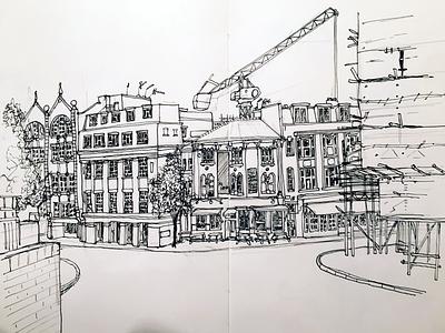 Clerkenwell, urban sketch london drawing sketchpad urban sketching ink line drawing sketch illustration