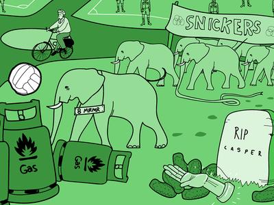RIP Kenny Pepper marathon corbyn elephant gas funny illustration surreal comedy podcast drawcast