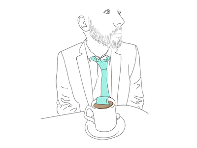 Self Portrait for about section on website homepage self-portrait tea tie portrait illustration face
