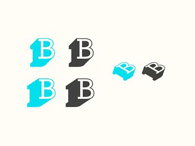B-lettermark logo shadow illustrator 3d brand b lettermark letter icon logo