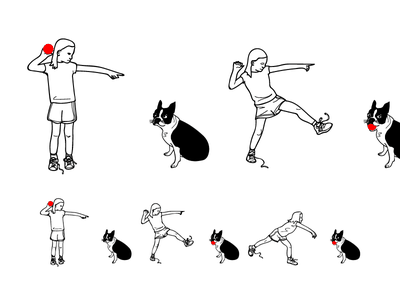 Go fetch wip illustrator vector linedrawing performance throw fetch dog