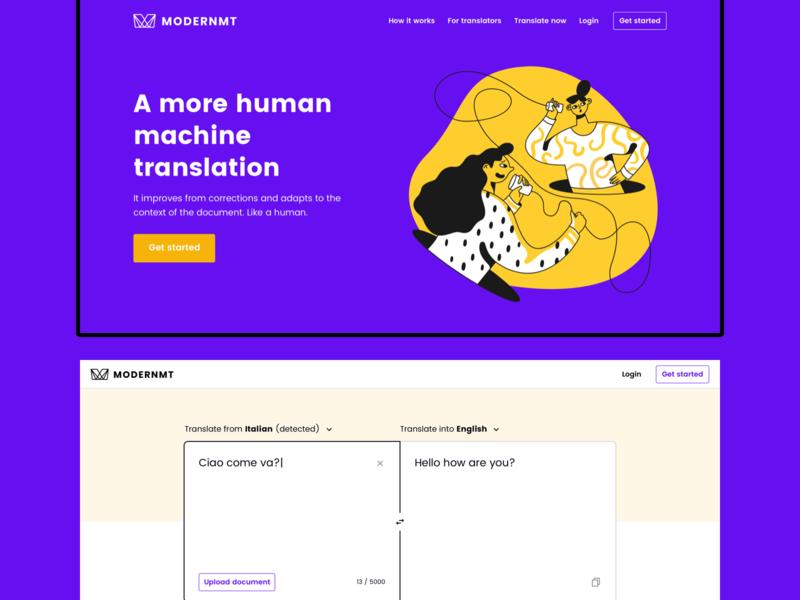 A more human machine translation web machine translation illustration app ui website layout