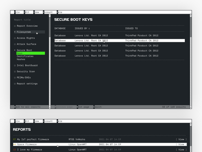 Cyber Security Dashboard firmware layout minimal ui security