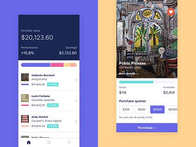 Art App ui investment gallery portfolio paintings explore finance art app