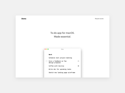 To-do app for macOS. Made essential. carbon free task manager productivity essential black and white minimal done app ui landing task macos list to-do