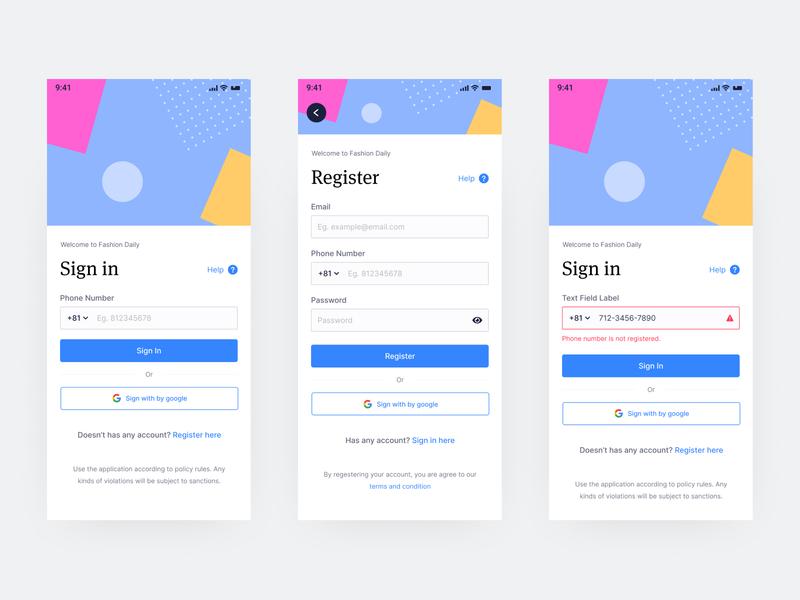 Sign in & Register Screen Mobile App