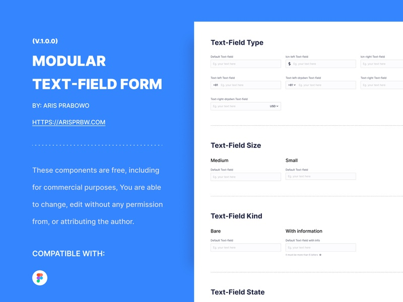 KITA Modular Text-field component - [FREE] mobile web simple guidlines design system prototyping date-picker dropdown select input text field form uikit ui freebies free
