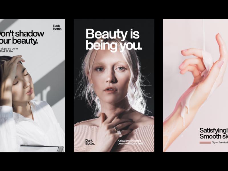 ✨ Dark Bottle - Posters #6 skin care posters branding skin care branding helvetica typography posters print