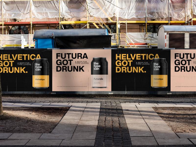 The Type Can - Beer Outdoor Ads. packaging beer typography print typecan thetypecan