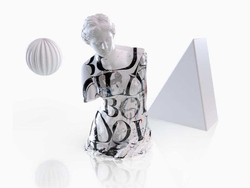 Bodoville Sculptures & Typography #1 - Venus 3d art 3d venus de milo venus rebranding sculptures typography
