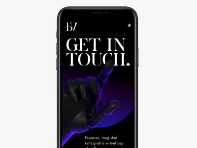 Get In Touch | Bodoville ⚫ blender 3d render interface design bodoville mobile animation interface