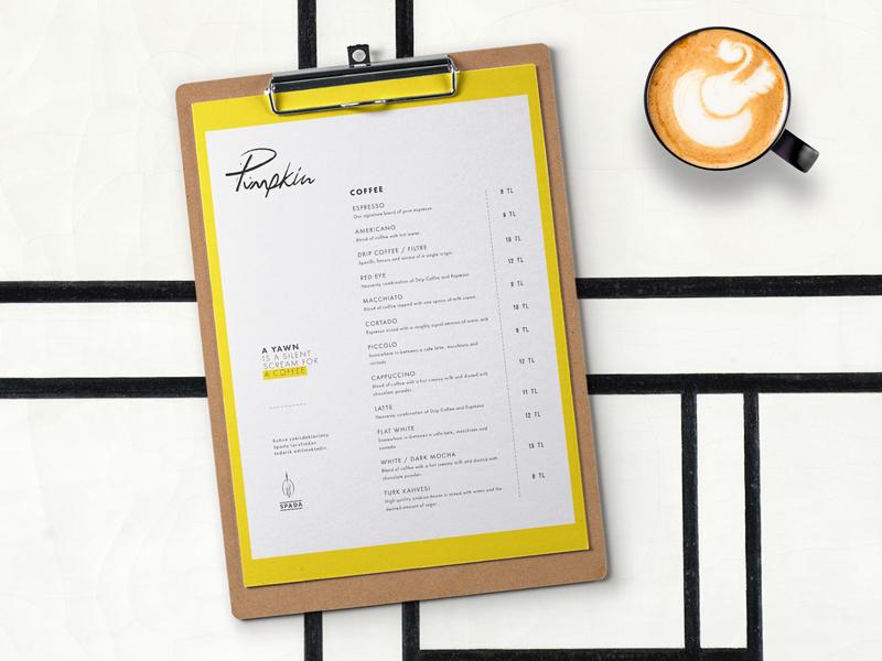 Pumpkin Café / Menu Design layout coffee yellow design cafe menu