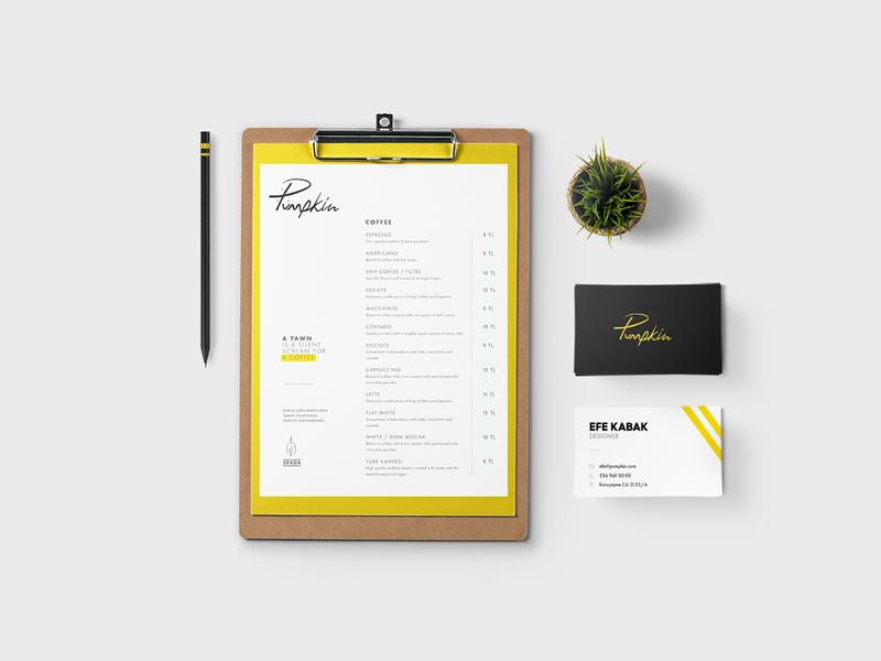 Pumpkin Café // Branding stationery business cards design menu logo design branding