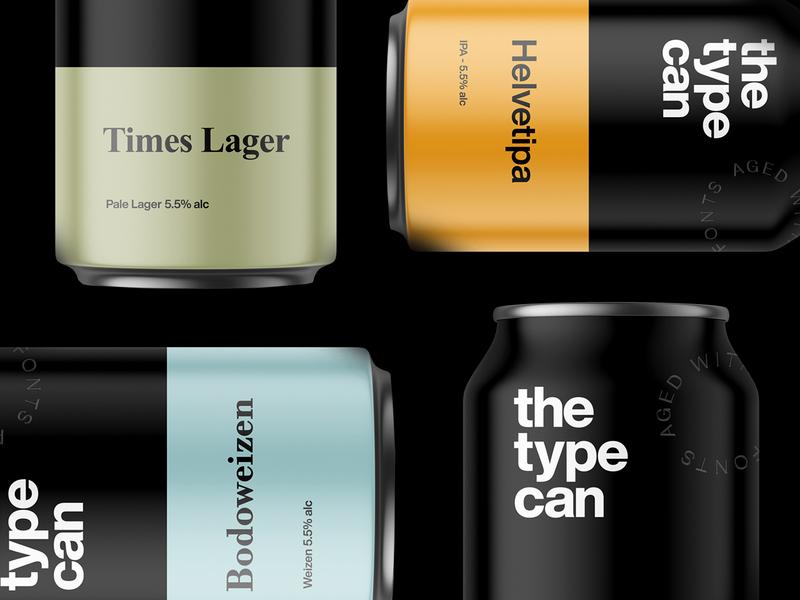 🍺 The Type Can - Beer for type lovers. #3 times new roman bodoni futura helvetica beer can beer typogaphy typography art type branding and identity branding concept branding design branding typography beer label beer branding