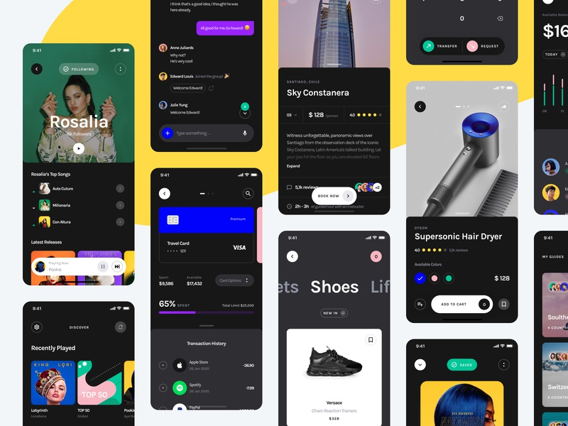 Yle Starter UI Kit - Dark Screens ui8 ui kit ux user interface user experience ui mobile interface design app