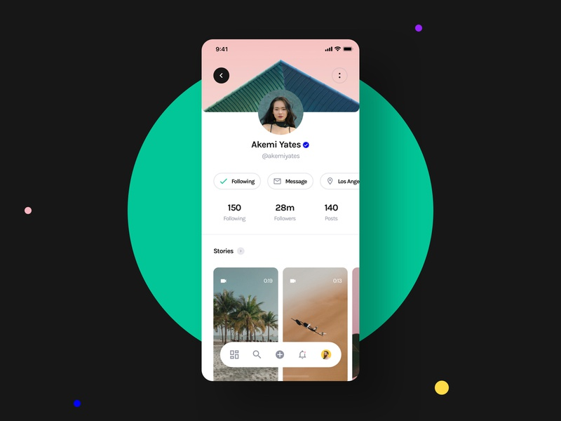 Yle UI Kit - Social Profile redesign instagram social network profile social unsplash sketch ui8 ui kit ux user interface user experience ui mobile interface design app