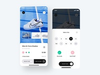Product Screens nike sneaker shoes ux user interface user experience unsplash ui kit sketch shopping product mobile iphone interface ecommerce design checkout cart app