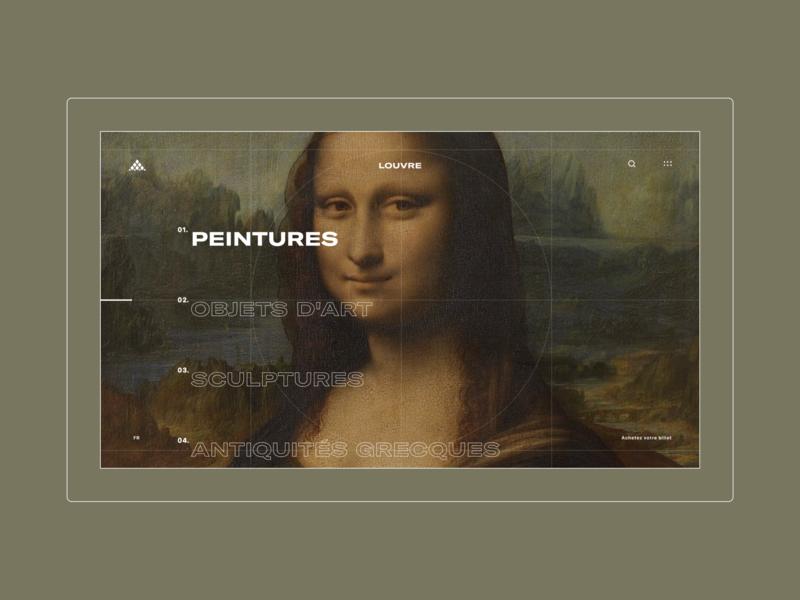 Louvre Museum - Collections Menu typography motion web design ux ui mobile concept museum louvre