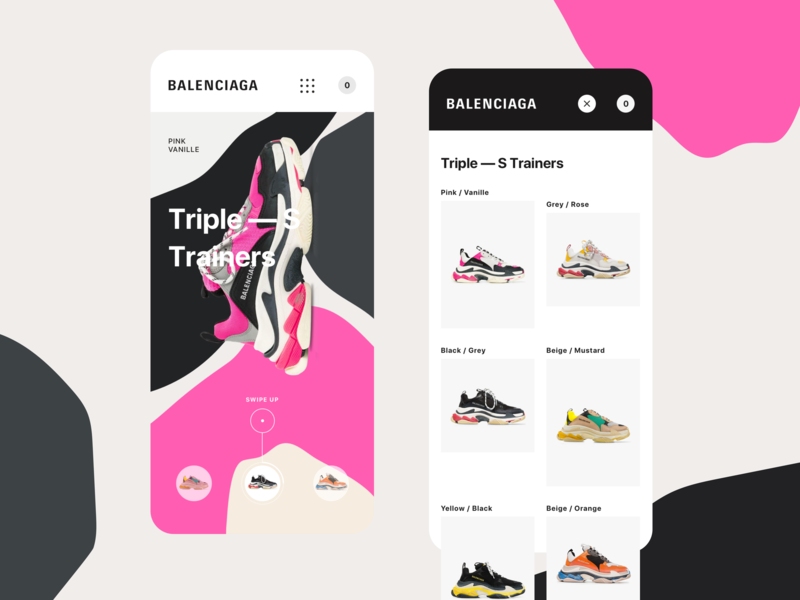 Balenciaga - Triple S Mobile mobile first responsive mobile shop concept colors fashion e-commerce ux ui motion landing page sneaker shoes triple s balenciaga