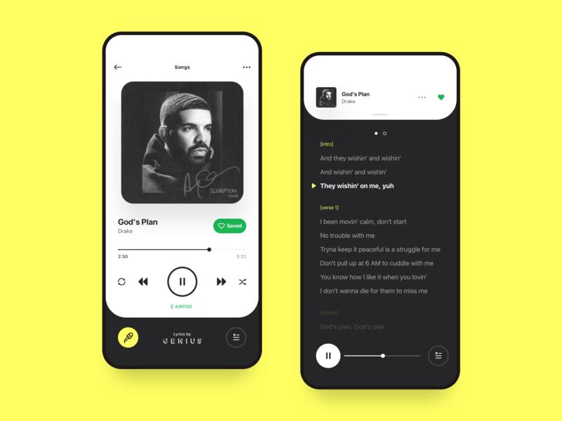 Spotify + Genius Concept deezer apple player playlist app music minimal video cards ux ui ios iphone x motion gif interaction animation lyrics genius spotify