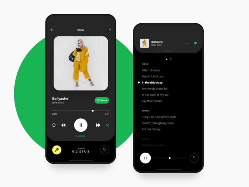 Dark Mode deezer apple player playlist app music minimal video cards ux ui ios iphone x motion gif interaction animation lyrics genius spotify
