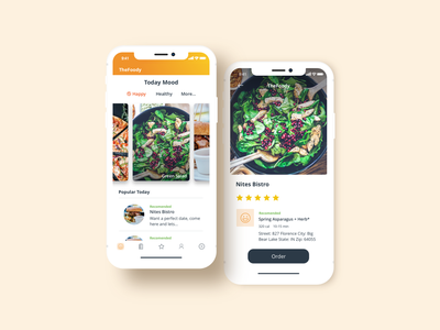 The foody app branding app pretty uxdesign yellow ui  ux food illustration experience design ux icon food and drink uidesign food app uiux ui food