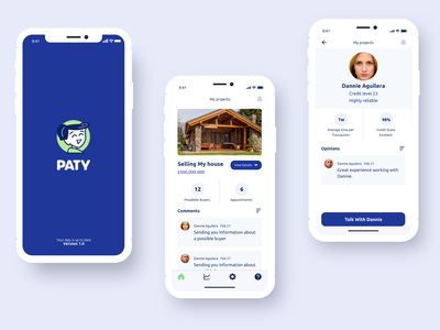 Patty an AI assistant for Real State illustration clean minimalistic interaction ux ui buisness sales real state logo ia profile splash ios app design