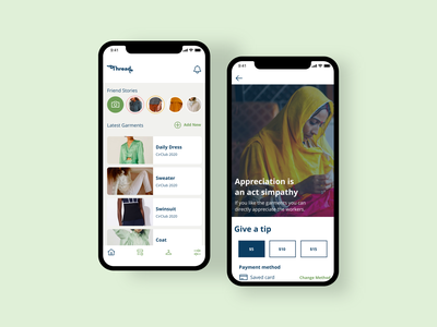 Thread: raising awareness app garments apparel habbits awareness fast fashion modern cleandesign prototype interaction uiux mobile ui app design
