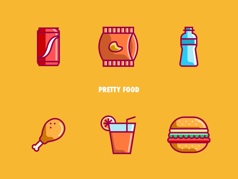 Pretty Food juice chips water burguer chicken coke iconography pictogram wam vector icon colour pretty food